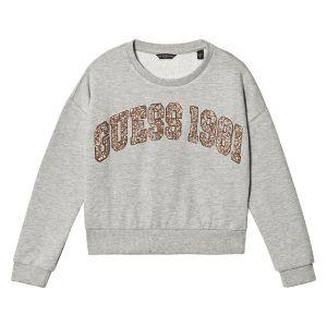 Guess Grey Cotton Sparkly Rose Gold Logo Sweatshirt