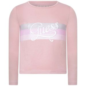 Guess Girls Pink Glitter Strip Cotton Top