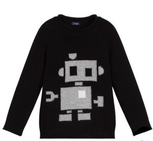 Il Gufo Black Knitted Wool Robot Sweater