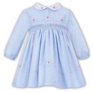 Sarah Louise Girls Blue Traditional Hand-Smocked Dress