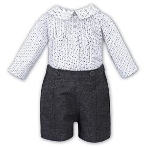 Sarah Louise Boys White & Grey Shorts Set