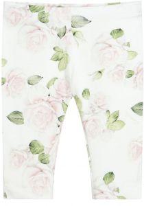 Monnalisa Girls Ivory Rose Print Cotton Leggings