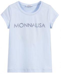 Monnalisa Blue Cotton Diamanté Logo T-Shirt