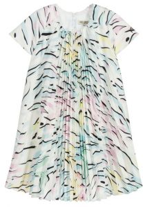 Kenzo Kids White, Pink & Blue Pleat Dress