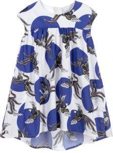 Kenzo Kids Blue & White Cotton Phoenix Dress
