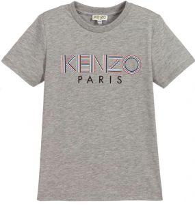 Kenzo Kids Grey Cotton Multi Logo T-Shirt