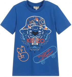 Kenzo Kids Boys Blue Cotton Tiger Celebration T-Shirt