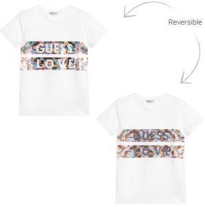 Guess Girls White Cotton Sequin Logo T-Shirt
