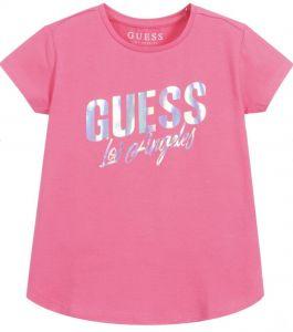 Guess Girls Pink Cotton iridescent logo T-Shirt