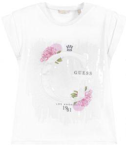 Guess Girls White Cotton Sequin T-Shirt