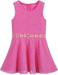 Guess Girls Bright Pink Lace Logo Dress