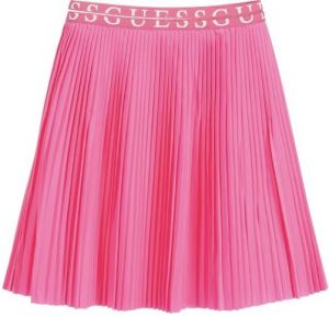 Guess Girls Neon Pink Pleated Logo Skirt