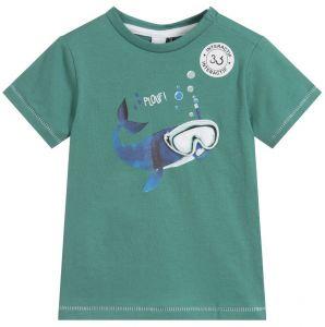 3Pommes Green Cotton Whale T-Shirt