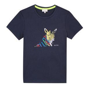 Paul Smith Junior Neon Zebra Boys Navy Cotton Tery T-Shirt