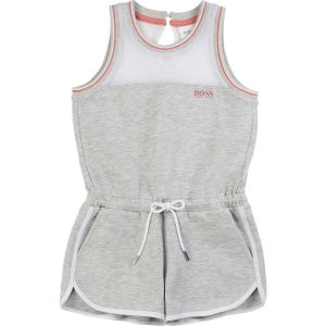 BOSS Kidswear Girls Grey Jersey Playsuit