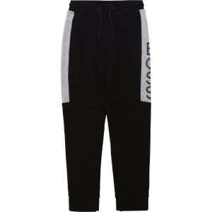 BOSS Boys Black and Grey Cotton Logo Joggers