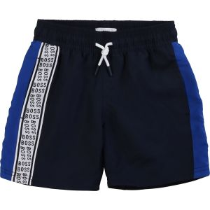 BOSS Kidswear Boys Navy Blue Taped Repeat Logo Shorts