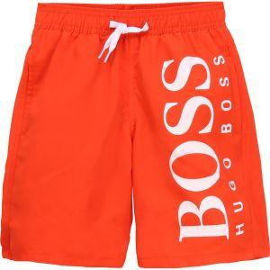 BOSS Kidswear Boys Orange Logo Swim Shorts