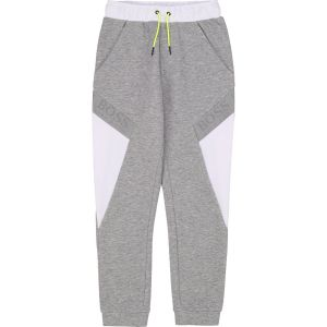 BOSS Kidswear Boys Grey and White Cotton Joggers