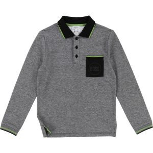 BOSS Boy's Grey Cotton Piqué Polo Shirt