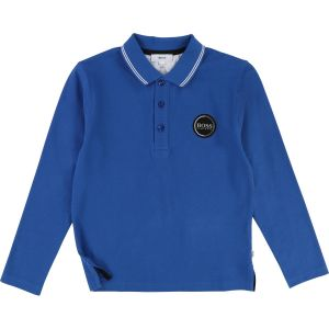 BOSS Boys Royal Blue Long Sleeved Polo Shirt
