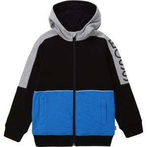 BOSS Boys Black, Blue and  Grey Zip-Up Hoodie