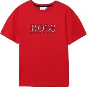 BOSS Kidswear Boys Red Cotton Logo Short Sleeved T-Shirt