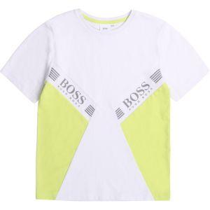BOSS Kidswear White & Green Logo T-Shirt