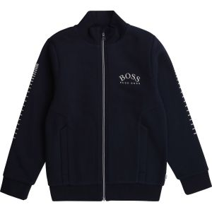 BOSS Kidswear Navy Blue Silver Embroidered Zip-Up Top