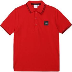 BOSS Kidswear Red Cotton Logo Polo Shirt
