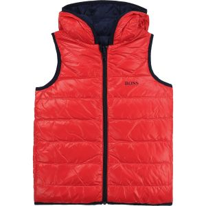 BOSS Kidswear Red & Blue Down Padded Gilet
