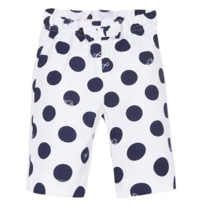 Lili Gaufrette White & Navy Blue Spotted Cotton Trousers
