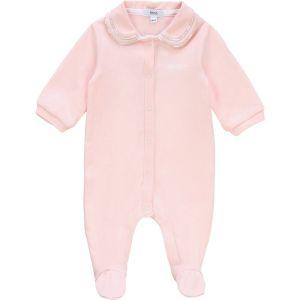 BOSS Kidswear Pink Cotton Logo Print Collar Babygrow