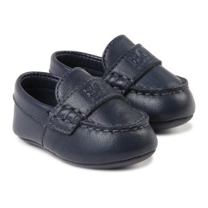BOSS Leather Pre-Walker Navy Moccasin Shoes