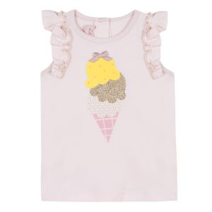 Lili Gaufrette Baby Girls Pink Cotton Ice Cream Top