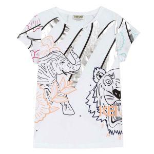 Kenzo Kids White Cotton Silver Detail T-Shirt