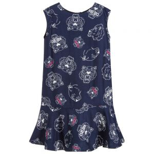 Kenzo Girl's Blue Tiger And Friends Dress