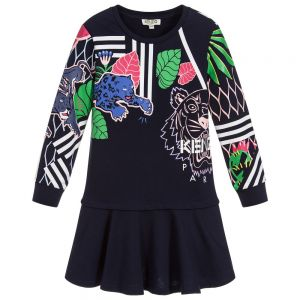 KENZO KIDS Blue Tiger Jersey Dress
