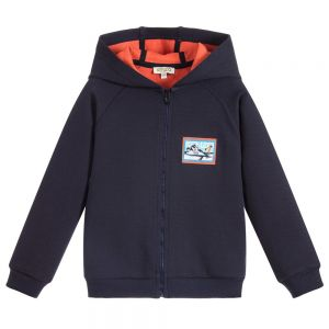 KENZO KIDS Boys Blue Zip-Up Hooded Top