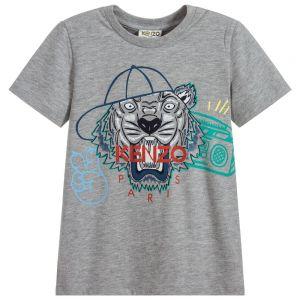Kenzo Kids Boys Grey Tiger With Cap T-Shirt