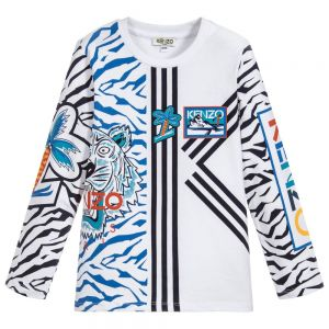 KENZO KIDS Boys White Abstract Pattern Long Sleeved Cotton Top
