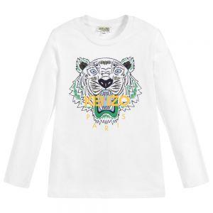 KENZO KIDS Boys White Iconic Tiger Cotton Top