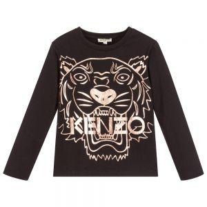 KENZO KIDS Girls Black Cotton Long Sleeved Tiger Top