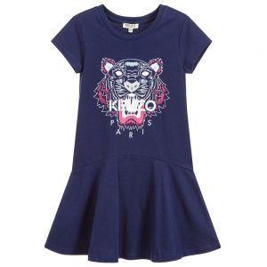 Kenzo Girl's Blue Cotton Tiger Dress