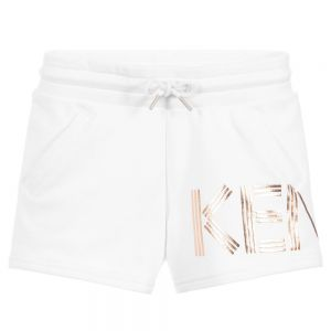 Kenzo Kids Girls White Cotton Logo Shorts