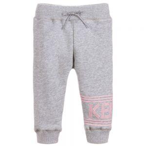 KENZO KIDS Girls Grey Cotton Logo Joggers