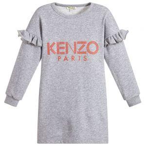 KENZO KIDS Girls Grey Jersey Orange Logo Dress