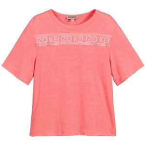 Kenzo Kids Girl's Neon Pink Logo T-Shirt