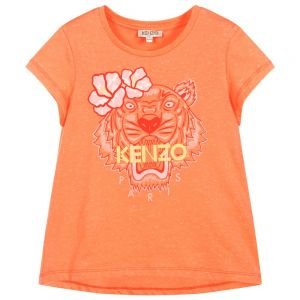Kenzo Kids Girls Orange TIGER T-Shirt