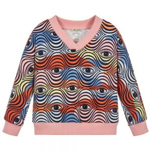 Kenzo Kids Girls Pink Cotton Eye Sweatshirt